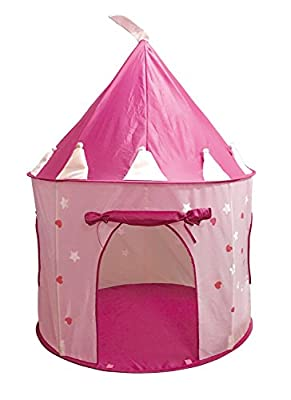 SueSport Girls Pink Princess Castle Play Tent, Children Play Tent for Girls, Glow in the Dark Stars from SueSport