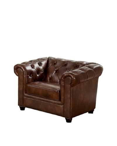 Abbyson Living Pasadena Italian Leather Armchair, Chestnut Brown