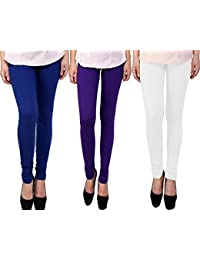 Snoogg Womens Ethnic Chic Inspired Churidar Leggings In Blue, Purple And White