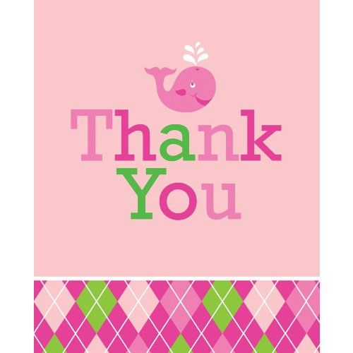 Creative Converting Ocean Preppy Girls Thank You Notes, 8 Count