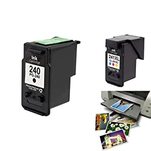 Insten® 2 packs of Remanufactured Black , Color Ink Cartridges , Canon PG-240 , Canon CL-241XL With 1 Additional FREE Glossy Photo Paper