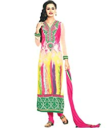 Lamiya Women's Unstitched Salwar Suit (FR7007_Multicolor_Free Size)