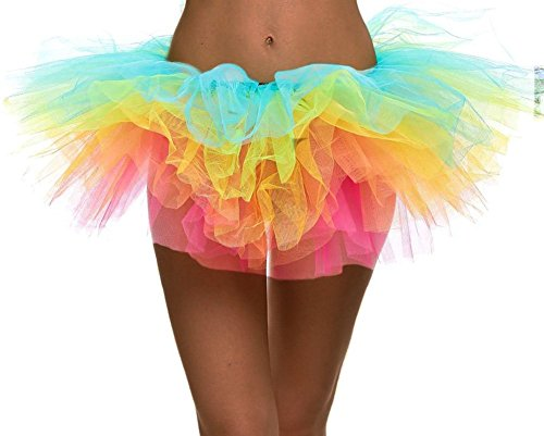 Women's Rainbow Classic 5-layered Tulle Tutu Halloween Skirt Dance