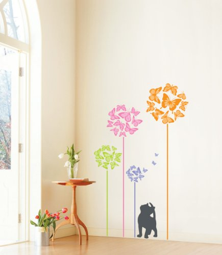 Jiniy BUTTERFLY & CAT WALL ART DECOR Mural Decal STICKER(PS58090)