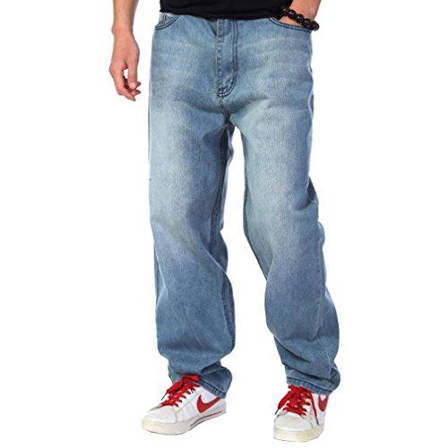 Nanquan Men Hip-Hop Baggy Plus Size Washed Jean Denim Long Pants 34 Light Blue