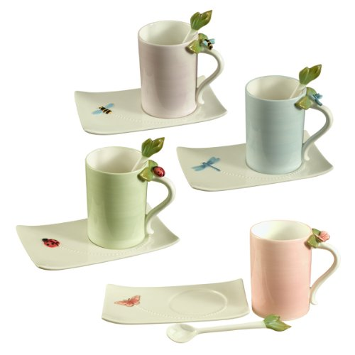 Grasslands Road Ambiance Bee Ladybug Dragonfly Butterfly Teacup & Saucer & Spoon Sets Four Styles, Set of 4