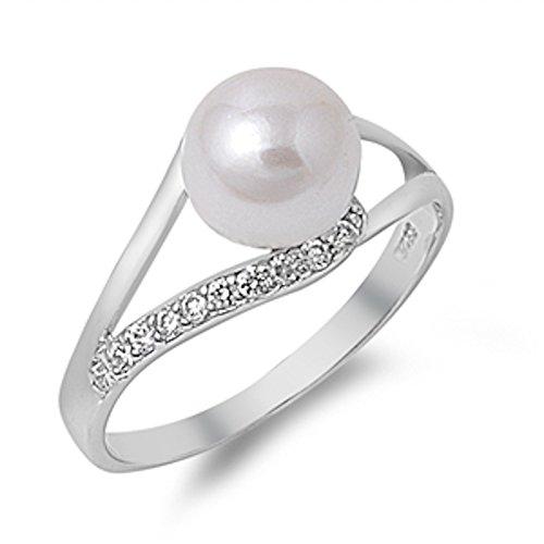 Fresh Water Pearl & Cubic Zirconia .925