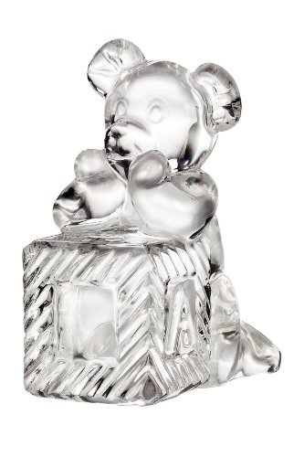 "Waterford Baby Collection ""Tender Animals"" Teddy Bear On Engraveable Block front-844579"
