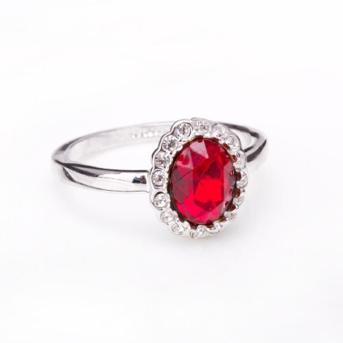 FASHION PLAZA 18K White Gold Finish Kate Middleton Diana Ring Oval Ruby Dark Red Color CZ Fashion Ring with Crystal (Available In Sizes K L N P) R256