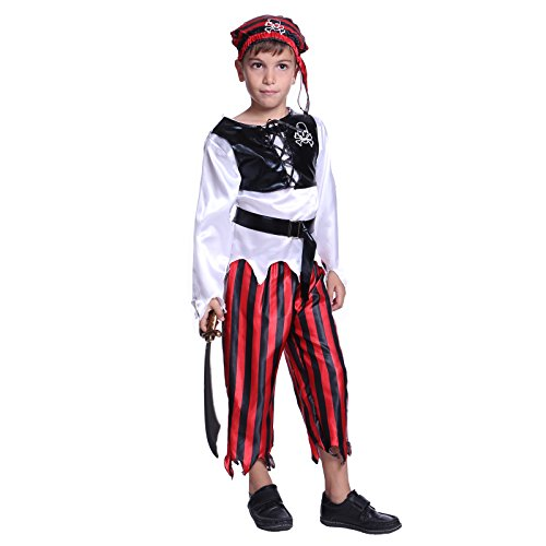 Toddler Boys Childs Kids Bucaneer Pirate Captain Caribbean Fancy Dress Costume