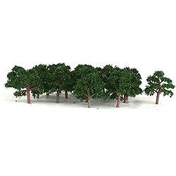 Generic 25 Pcs Scenery Landscape Train Model Trees Scale 1/300 Dark Green