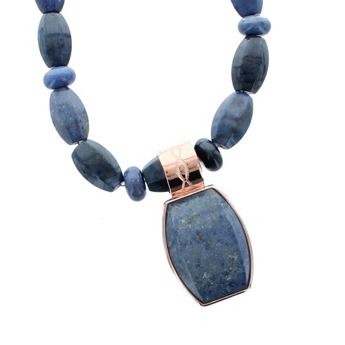 Blue Infinity Stone Pendant and Necklace by Jay King