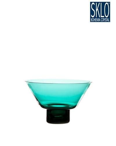 Cristal de Bohemia Portavelas Columna Votive Cónico Verde