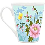 HomeSoGood Butterflies Collecting Nectar White Ceramic Latte Coffee Mug- 355 Ml