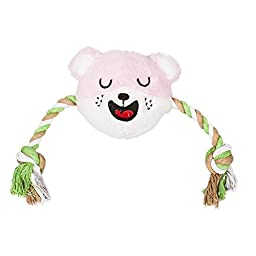 Blueberry Pet Toys Tina the Pink and White Smiley Bear - Tug & Squeak Toy for Dogs, Puppy Toys