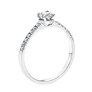 GIA Certified 14k white-gold Round Cut Diamond Engagement Ring (0.44 cttw, K Color, VVS2 Clarity)
