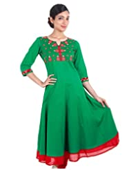 Emerald Green With Red Anarkali Kurta From ESTYLe