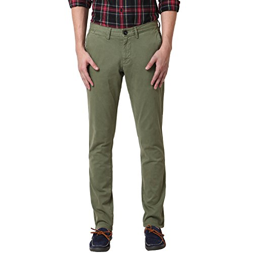 Web Jeans Olive Cotton Slim Fit Trousers for Men (Size: 30)