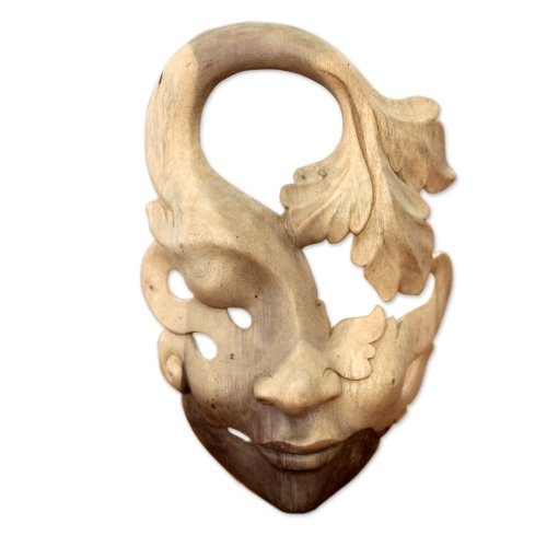 NOVICA Decorative Leaf And Tree Wood Mask, Beige 'Shy Maiden'