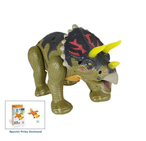 Walking-Triceratops-Dinosaur-Toy-Figure-with-Many-Lights-Loud-Roar-Sounds-Real-Movement-Battery-Powered-colors-may-vary-FREE-GIFT-INCLUDED