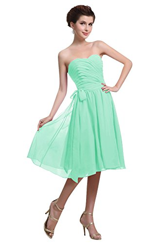 Diyouth Short Sweetheart Bridemsiad Dresses Chiffon Formal Prom Dress Backless Mint Size 8