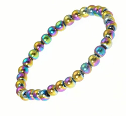 Elasticated Magnetic Hematite Bead Stretch Bracelet / Wristband with Rainbow/Oil Effect Beads