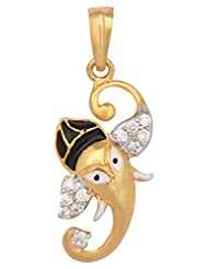 Vama Collections One Gram Gold Plated Ganesh Ganesha Pendant With Cubic Zirconia Diamond For Men Women Children... - B00ORNIN6E