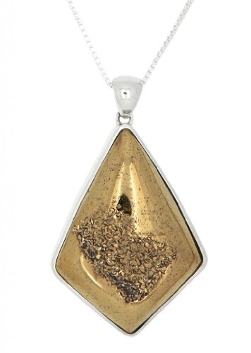 Sterling Silver Kite Shape Genuine Gold Drusy Pendant Necklace front-587322