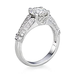 Diamond Engagement Ring in 14K Gold / White GIA Certified, Round, 2.01 Carat, K Color, VS2 Clarity