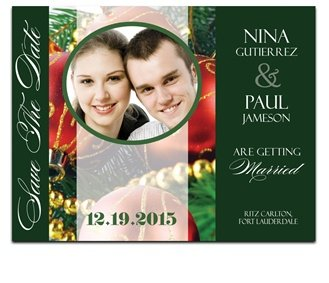 60 Save the Date Cards - Christmas Ornaments