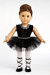 Black Swan - Black Ballerina Outfit Includes Leotard, Tutu, Tights and Ballet Shoes - American Girl Doll Clothes