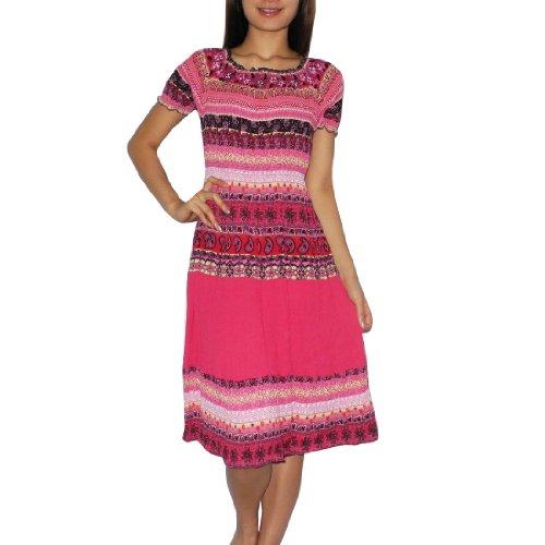 Womens Thai Boho Exotic Gathered / Empire Waist Ruffled Sleeve Summer Dress - Size: one size