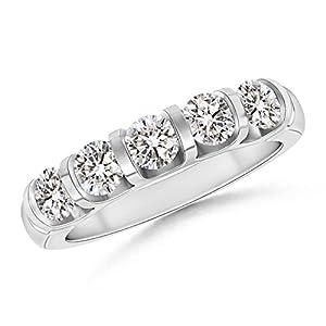 Five Stone Diamond Wedding Band in Platinum