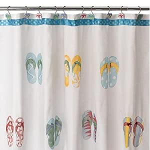 FLIP FLOP beach bath SHOWER CURTAIN Embroidered