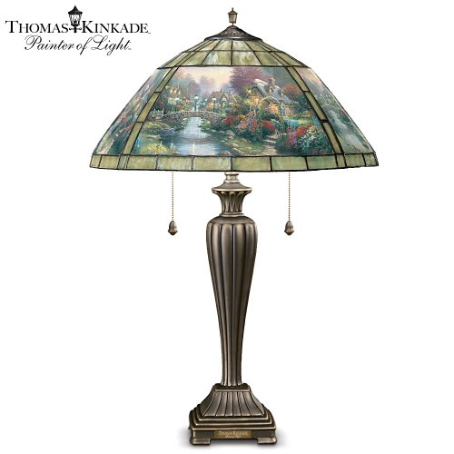 Thomas Kinkade Lamplight Bridge Stained Glass Table Lamp