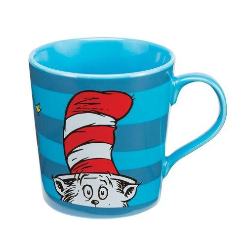 Vandor 17561 Dr. Seuss Cat In The Hat Ceramic Mug, 12-Ounce, Blue/Red/White