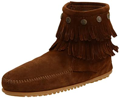 Minnetonka Women's Double Fringe Side Zip Boot,Dusty,5 M US