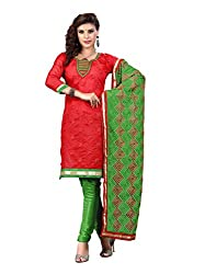 FadAttire Self Designed Chandheri Suit with Printed Dupatta-Red-FARA01