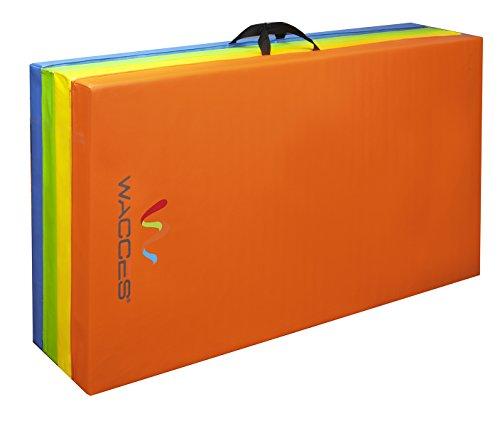 "Wacces 4' x 8' x 2"" PU Leather Gymnastics Gym Fitness Exercise Tumbling / Martial Arts Folding Mat (Rainbow)"