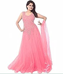 Maa Textile Women's Pink Net semi-Stitched Gown(H149_Pink_free size)