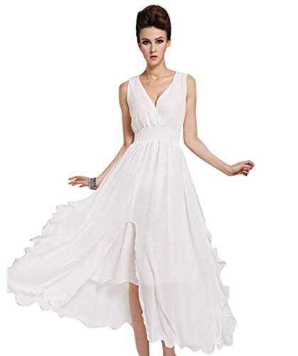 Women's Low-cut High-waist Beach Sleeveless Boho Chiffon Long Dress (Asian Size M, White)