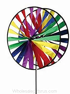 Premier Kites Twin Wheel Wind Spinner 24In Rainbow