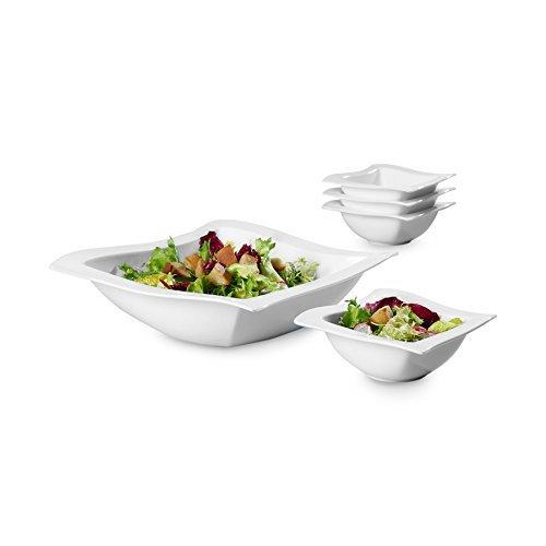 빌레로이 앤 보흐 뉴웨이브 샐러드볼 5피스 세트 New Wave 5 Piece Salad Set by Villeroy & Boch - Premium Porcelain - Made In Germany - Dishwasher and Microwave Safe