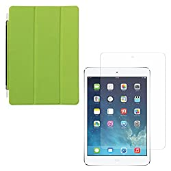 DMG Ultra Slim Magnetic Smart Shell Stand Cover Case for Apple iPad Mini / Mini 2 / Mini 3 (Lime Green) + Tempered Glass Screen Protector