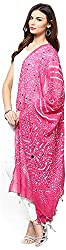 Apratim Womens Cotton Pink Bandhani dupatta with mirror work