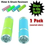 Glow in the Dark, Water Resistant Rubber Coated Body Super Bright 9 LED Flashlight. Pack of 2