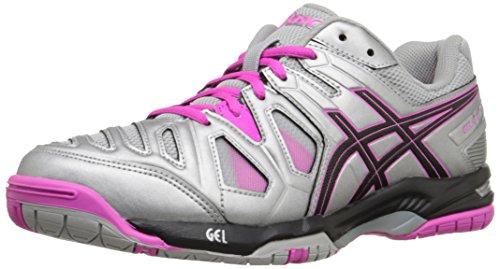 ASICS Women'S Gel-Game 5 Tennis Shoe, Silver/Black/Pink Glow, 8 M US