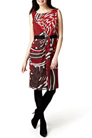 Per Una Slash Neck Abstract Print Shift Dress [T62-9193I-S]