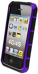 DECORO DGHIP4PRBK Premium Grip Hybrid Case for Apple iPhone 4/4S - 1 Pack - Carrying Case - Retail Packaging - Purple/Black