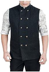 Suchos Men's Woolen Shirt (SJ19, Black , S)